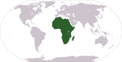 World map showing Africa (geographically).