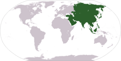 World map showing Asia.