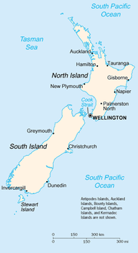 A map of New Zealand showing the major cities and towns