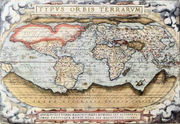 World map from the first modern atlas by Ortelius - Theatrum Orbis Terrarum (1570)