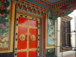 A decorated door from the Tibetan Namdroling monastery, southern India.