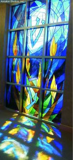 Abstract stained glass window for Beth El Congregation of Bethesda, Maryland by David Ascalon
