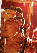 Greek soldier depicted in the Sampul tapestry, woollen wall hanging, 3rd-2nd century BCE, Sampul, Urumqi Xinjiang Museum.