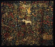 A 16th century Flemish mille-fleur tapestry in the Victoria and Albert Museum.